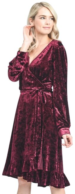 Item - Burgundy Crushed Velvet Wrap New M Holiday Party Nye Mid-length Night Out Dress Size 8 (M)