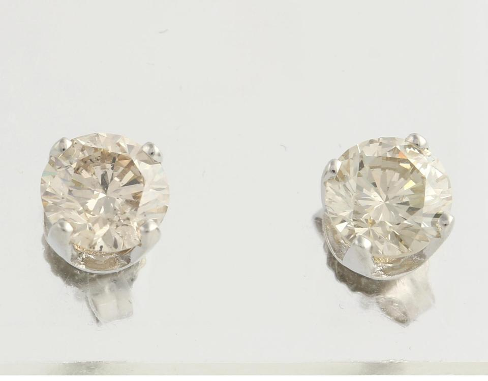 Wilson Brothers New Champagne Diamond Solitaire Stud Earrings 14k White Gold Round C