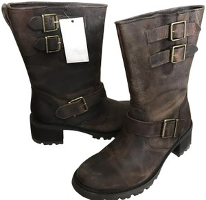 Rockport Moto Leather Brown Distressed Boots