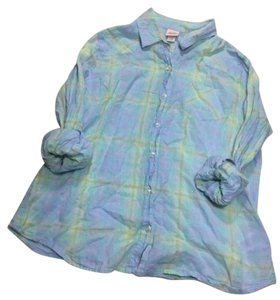 Mossimo Supply Co. Button Down Shirt Pale Blue & Greens