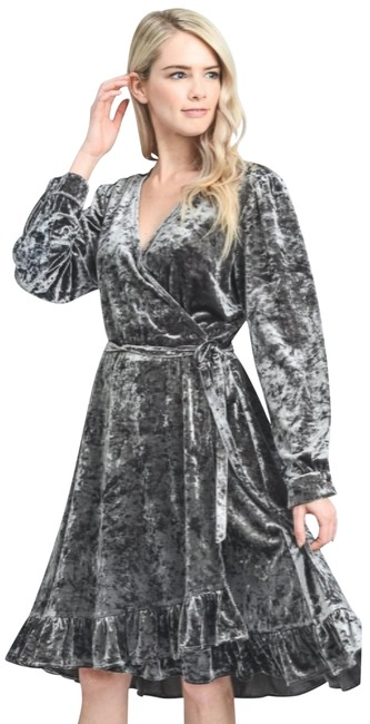Item - Silver L Belle Crushed Velvet Wrap New Holiday Party Nye Mid-length Night Out Dress Size 12 (L)