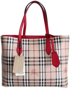 Burberry Leather Tote in Poppy Red Reversible