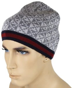 Gucci New Gucci Gray Wool Diamante Beanie Hat with BRB Web 347988 1962