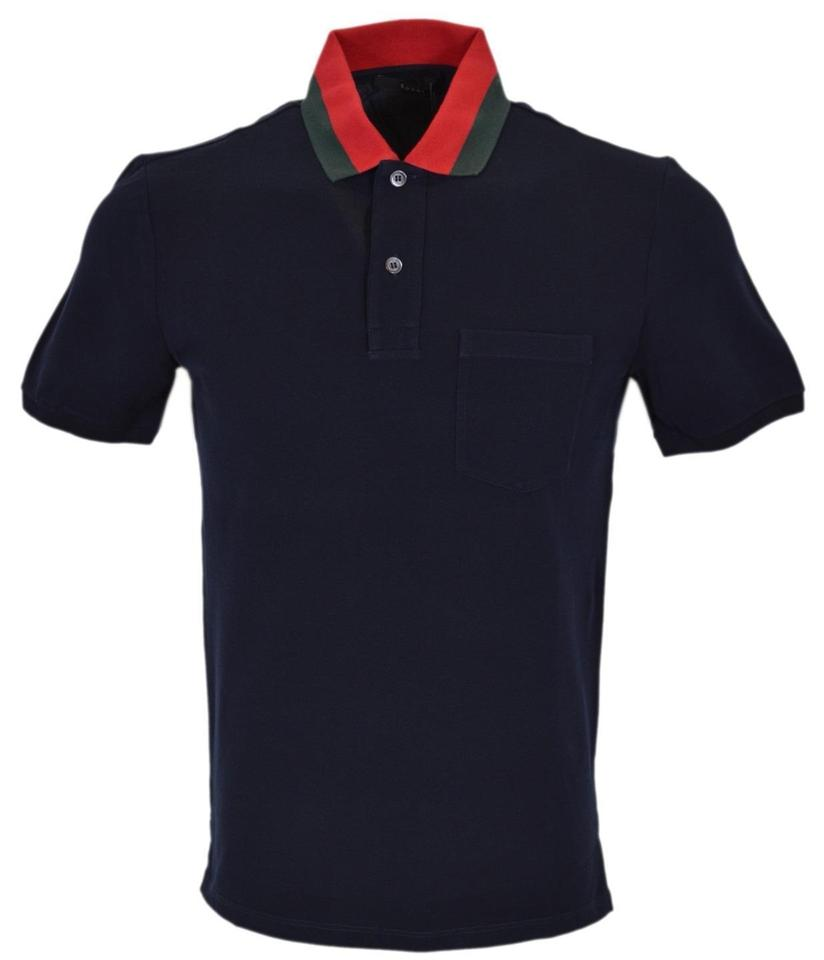46f6abcf1 Gucci Blue New Men's 389031 Cotton Red Green Collar Slim Polo Shirt ...