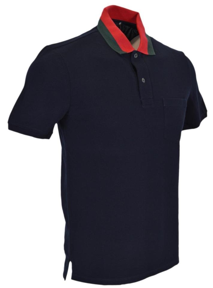 ac0a6bce Gucci Blue L New Men's 389031 Cotton Red Green Collar Slim Polo ...