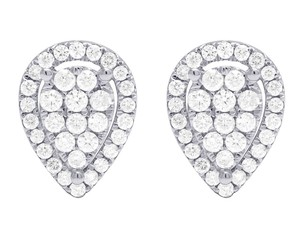 Jewelry Unlimited 14K White Gold 0.60CT Diamond Pear Shaped Studs Earrings 6MM