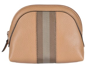 Gucci New Gucci Women's 339558 Tan Leather Web Stripe Mini Dome Cosmetic Bag