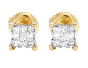 Jewelry Unlimited Ladies 14K Yellow Gold Genuine Diamond Square Stud Earring 0.33Ct 3MM