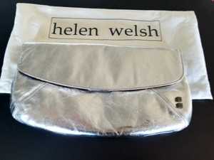 Helen Welsh Going Out Leather Silver Clutch