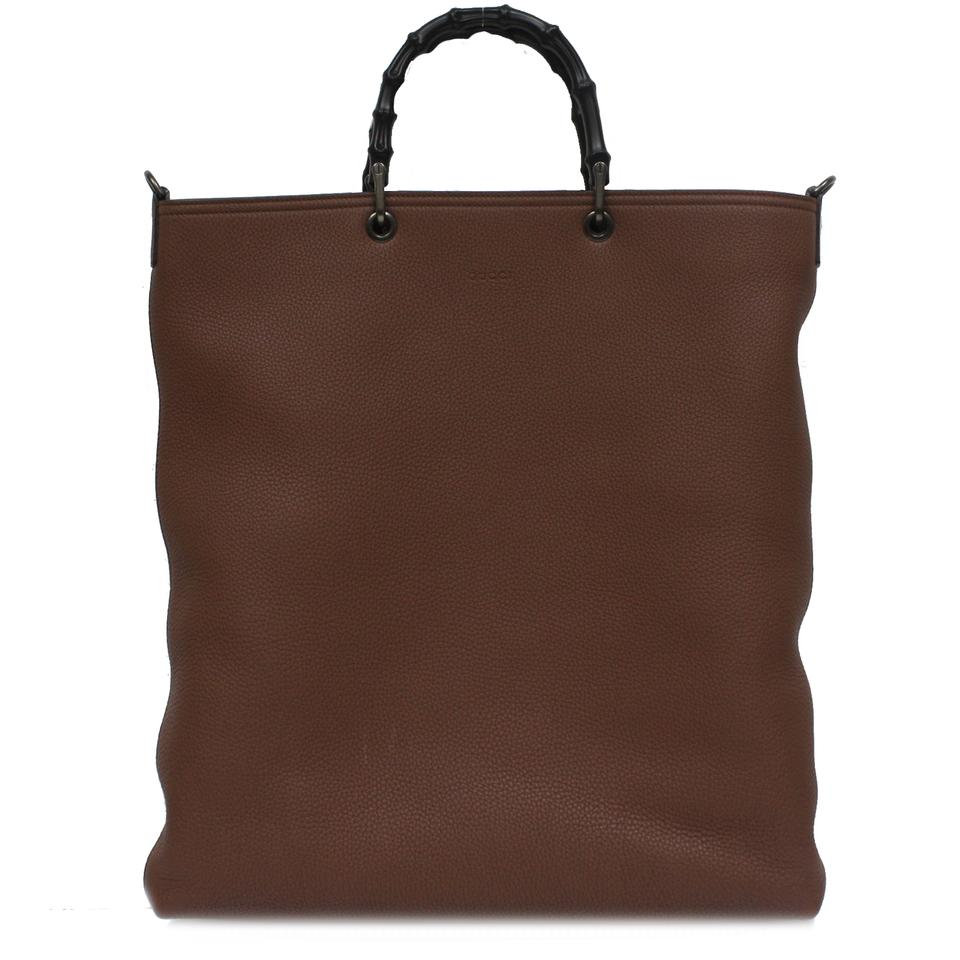 f503c644ee3 Gucci Bamboo Shopper Large with Shoulder Strap 358217 Brown Leather ...