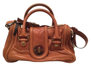 Chloé Leather Crossbody Distressed Turnlock Satchel in Chestnut Brown