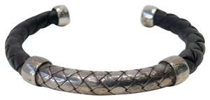 Bottega Veneta Bottega Veneta Intrecciato Leather and Silver Cuff Bangle