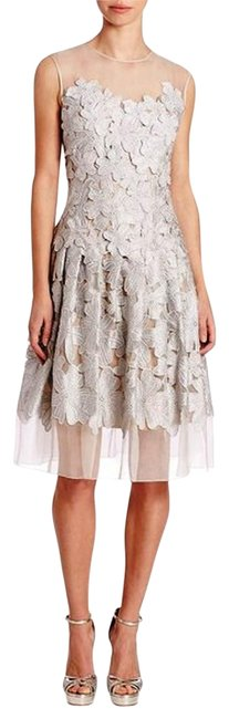 Item - Silver Couture Applique Sleeveless Cocktail Evening Short Formal Dress Size 8 (M)