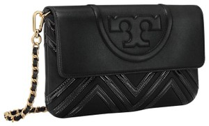 Tory Burch Fleming Leather Quilted Black NWT Holiday Clutch