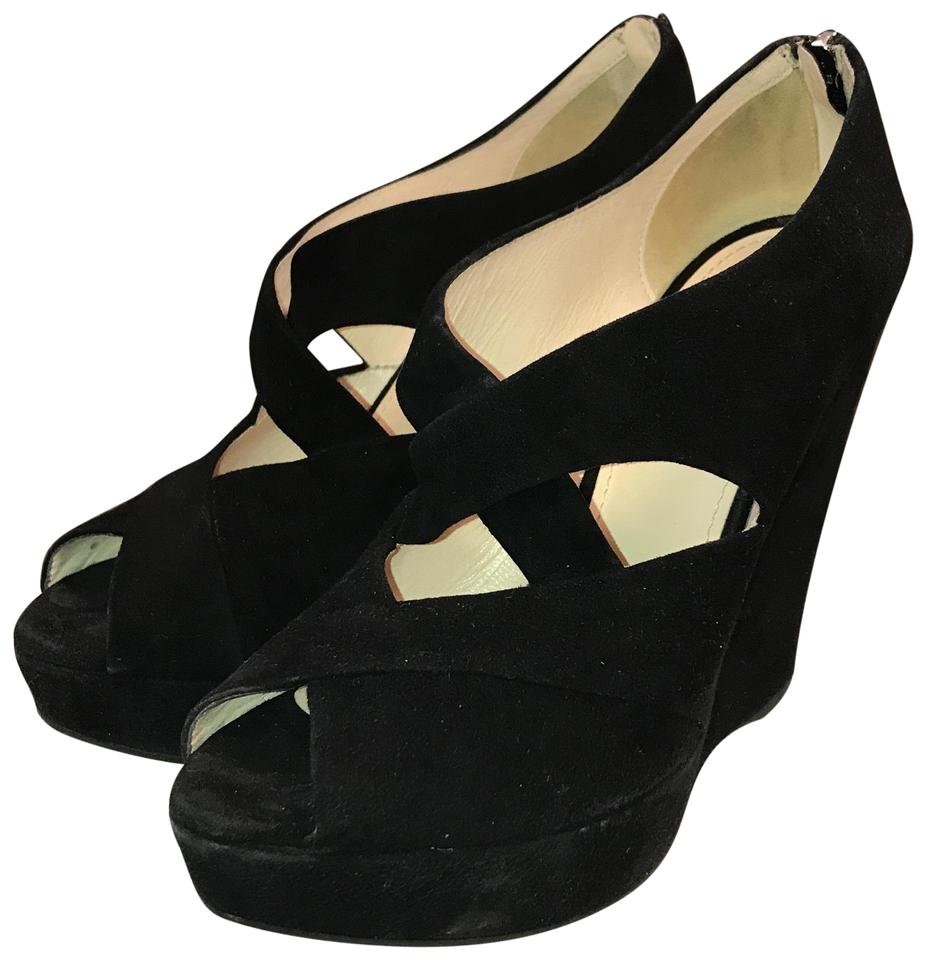 a85aa8aa24d7 Prada Black Suede Crossover Wedge Sandals Platforms Size EU 37.5 ...