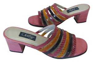Selby Sandal Leather Shelby Size 7n PINK, PURPLE, ROSE, YELLOW Sandals