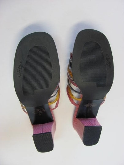 Selby Leather Size 7n Excellent Condition PINK, PURPLE, ROSE, YELLOW Sandals