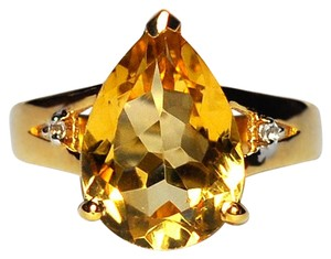 NY Collection Real Pear Citrine Quartz Topaz Solitaire Women Gold Sterling Silver