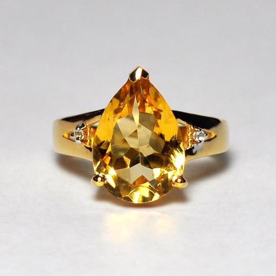 NY Collection Real Pear Citrine Quartz Topaz Solitaire Women Gold Sterling Silver Image 2