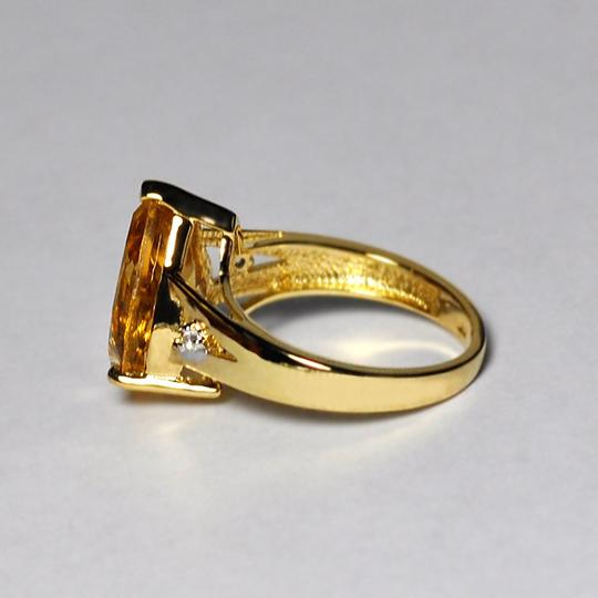 NY Collection Real Pear Citrine Quartz Topaz Solitaire Women Gold Sterling Silver Image 3