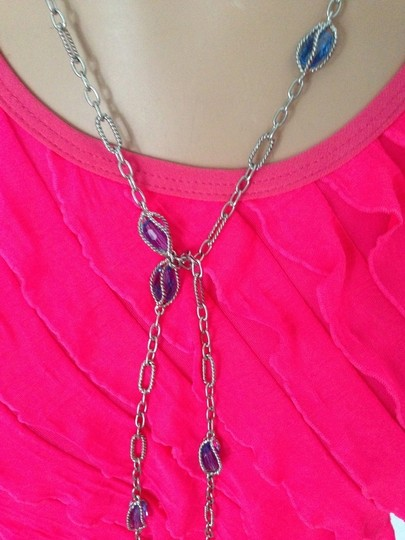 Other Blue Crystal & long Silver Chain