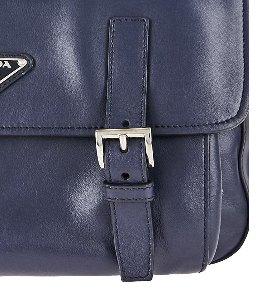 5d153270f58e00 Prada Baltico Soft Calfskin Bt953l Navy Blue Leather Messenger Bag ...