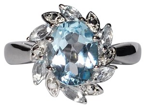 NY Collection Real Oval Blue Topaz Flower December Birthstone Womens 925 Sterling