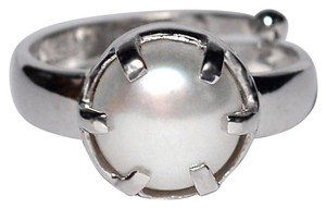 NY Collection Cultured Pearl Solitaire Adjustable Ring Womens 925 Sterling Silver
