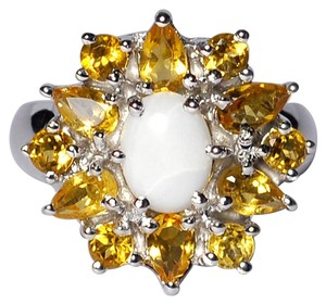 NY Collection Real Opal Citrine Quartz Flower Cluster Womens Unique 925 Sterling