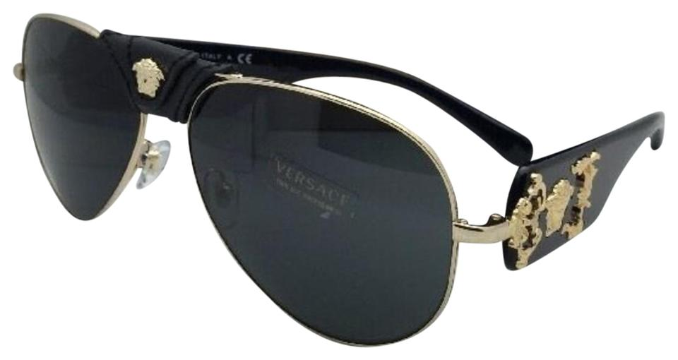 9200832afe Versace New VERSACE Sunglasses VE 2150-Q 1002 87 Gold   Black Aviator w ...
