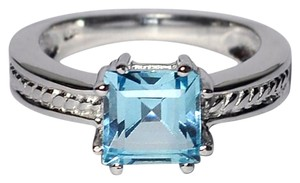 NY Collection Natural Asscher Blue Topaz Solitaire Promise Ring Womens 925 Sterling