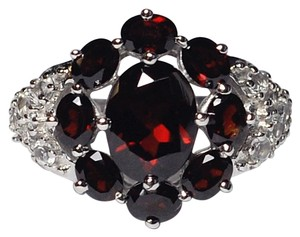 NY Collection Natural Garnet Topaz Flower Cocktail Band Women 925 Sterling
