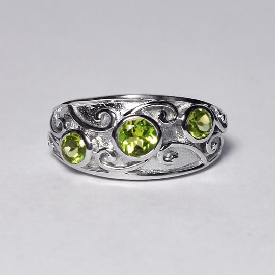 NY Collection Natural Bezel Set Peridot Vintage Band Jewelry Womens 925 Sterling Image 2