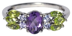 NY Collection Natural Purple Amethyst Peridot Tanzanite Cocktail Band 925 Sterling