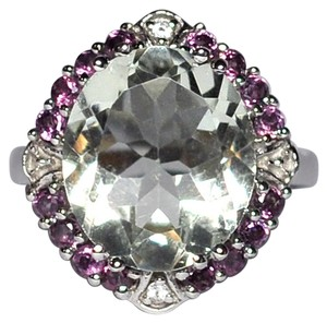 NY Collection Natural Green Amethyst Garnet Topaz Cocktail Halo Womens 925 Sterling