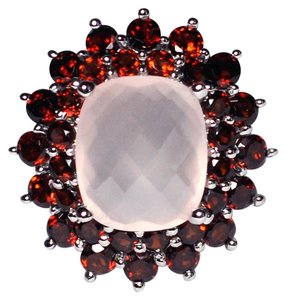 NY Collection Natural Rose Quartz Garnet Flower Cocktail Ring Womens 925 Sterling