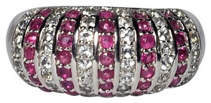 NY Collection Natural Ruby White Topaz Dome Band Womens Unique 925 Sterling