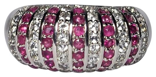 Preload https://img-static.tradesy.com/item/22608026/ny-collection-silver-womens-ruby-white-topaz-dome-band-925-sterling-243ct-10mm-ring-0-1-540-540.jpg