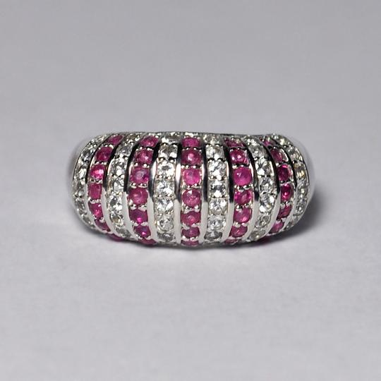NY Collection Natural Ruby White Topaz Dome Band Womens Unique 925 Sterling Image 2