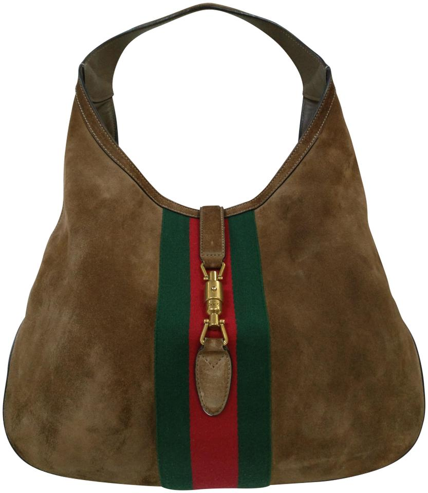 226b6b12bd09d4 Gucci Jackie Web Large Suede Brown Leather Hobo Bag - Tradesy