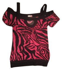 Body Central Top Pink & Black Zebra