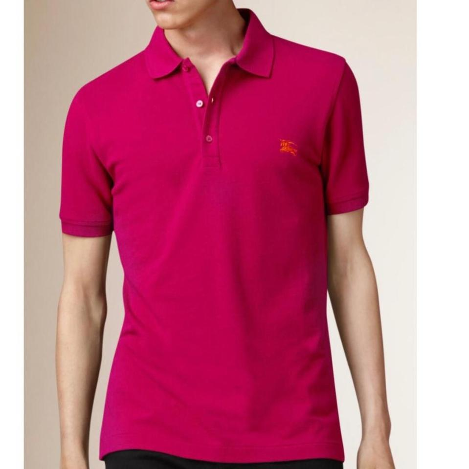 cd376db6959 Burberry Vibrant Fushia Cotton-jersey Polo Men s Tee Shirt Size 16 ...