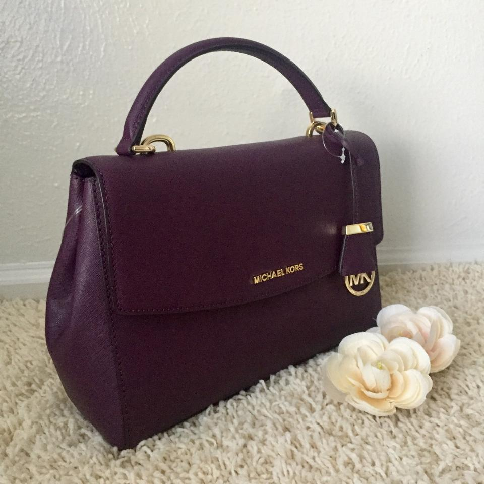 cc722c8f67dbe3 Michael Kors Ava Medium Saffiano Damson Leather Satchel - Tradesy