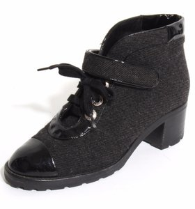 Chanel Lace-up Wool Cap-toe Ankle Black Boots