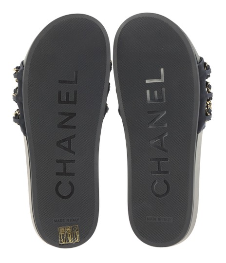 Chanel Rubber Chain Gold Hardware Blue Sandals Image 10