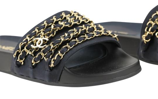 Chanel Rubber Chain Gold Hardware Blue Sandals Image 7