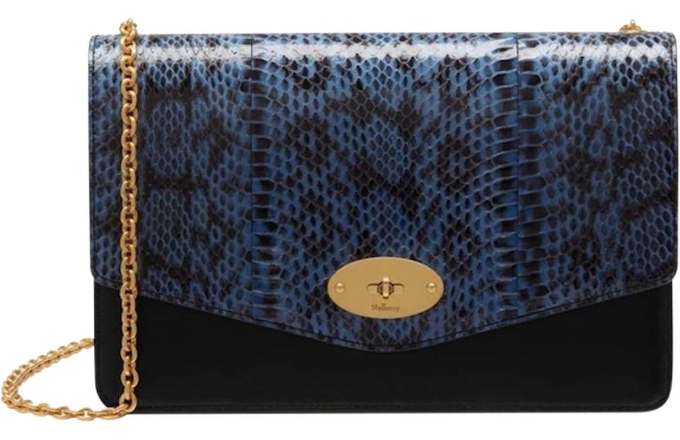 0142b36c5614 Mulberry Darley Blue Leather and Snakeskin Clutch - Tradesy