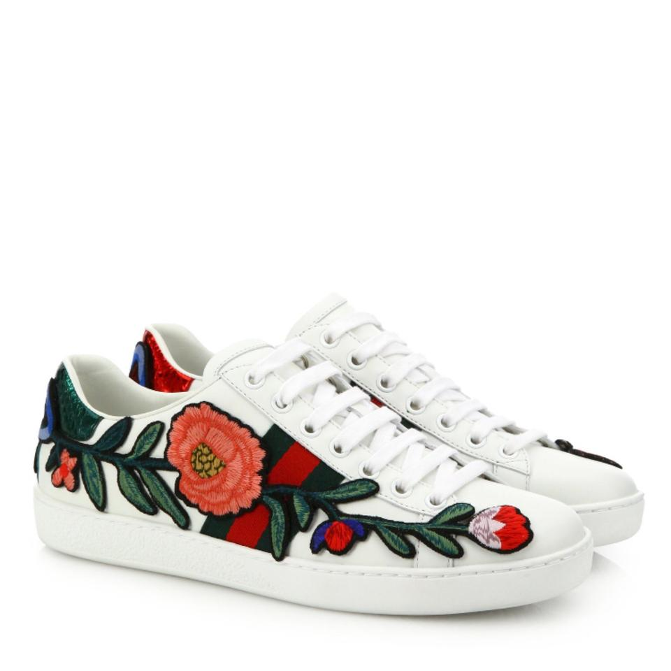 b173c0ad407 Gucci White New Ace Embroidered Floral Low Top Sneakers 37 Sneakers ...