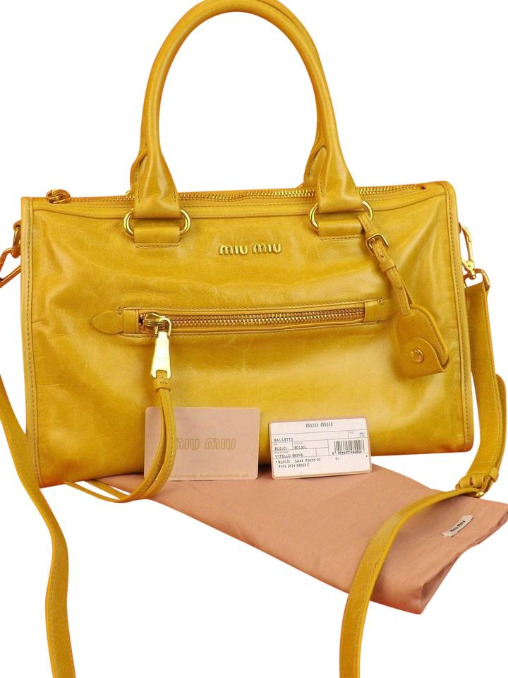6c4e262bc3f6 Miu Miu Prada Vitello Zip City Shoulder Yellow Leather Cross Body ...