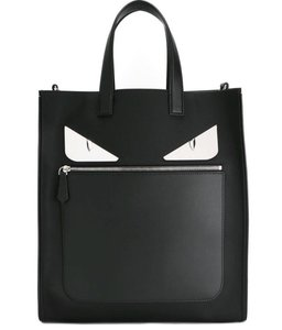 Fendi Bugs Monstereyes Leather Nylon Tote in black